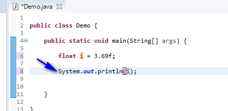 float data type Java - float print