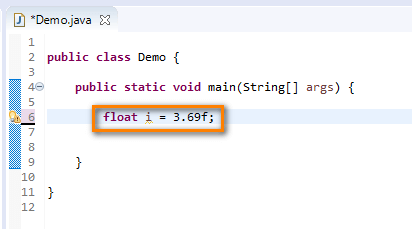 float data type Java - float