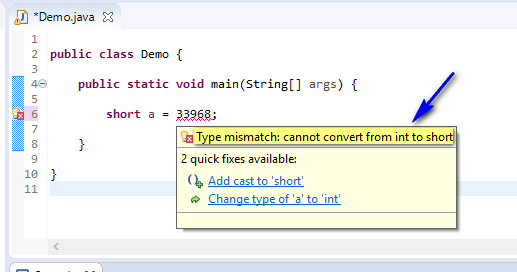 out of range - hover cannot convert from int to short