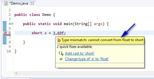 short assigned different - float to short compiler error