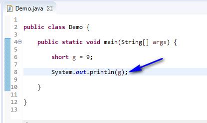 short data type Java - short print