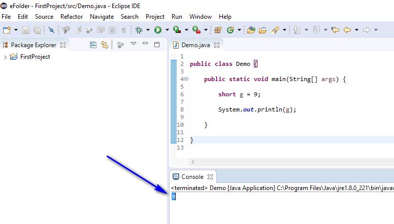 short data type Java - short printed