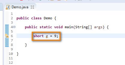 short data type Java - short