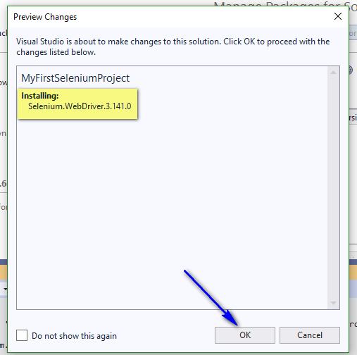 Selenium C# - Installing Selenium WebDriver Confirmation Dialog