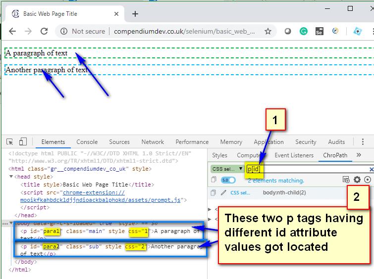 Relative CSS Selectors - p tags id