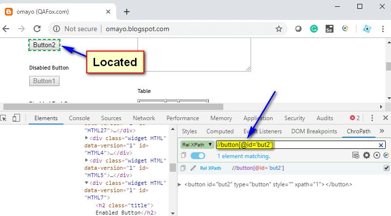 Relative XPath Expressions - Located Button2