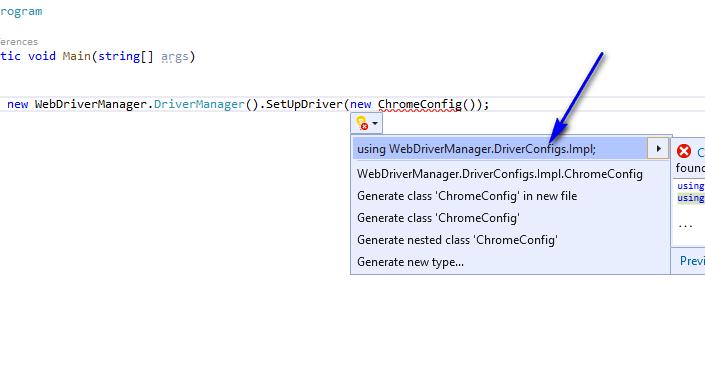 Selenium C# - import