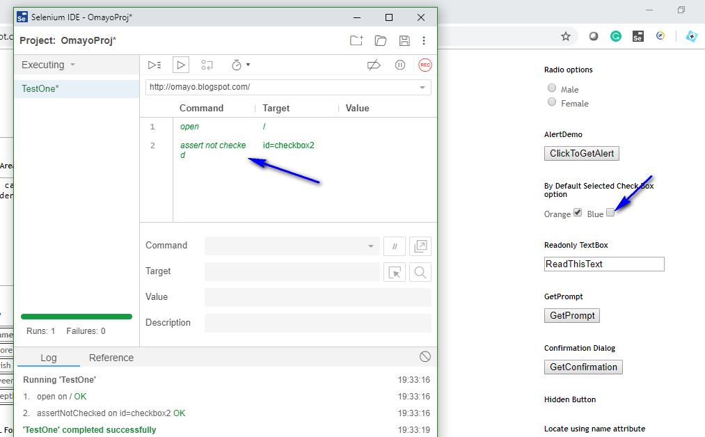 assert not checked Selenium IDE - executed