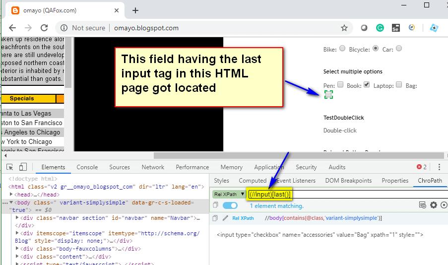 last() XPath Function - input last