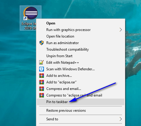 Installing and Launching Eclipse IDE - pin to taskbar
