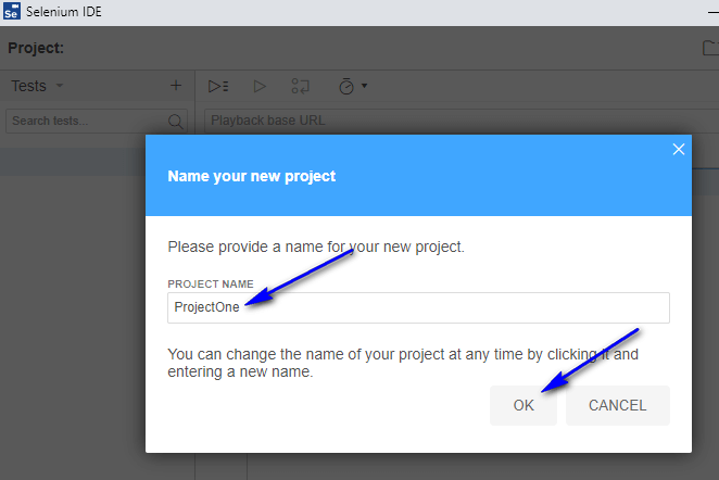 Project Options New Selenium IDE - Project Name