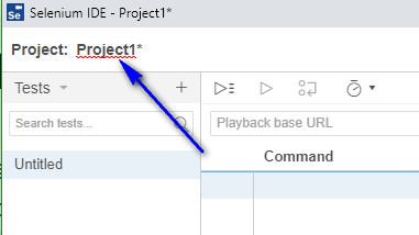 Project Options New Selenium IDE - project updated