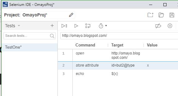store attribute Selenium IDE - typing