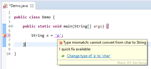 String assign different - character