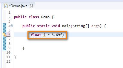 float data type Java - float