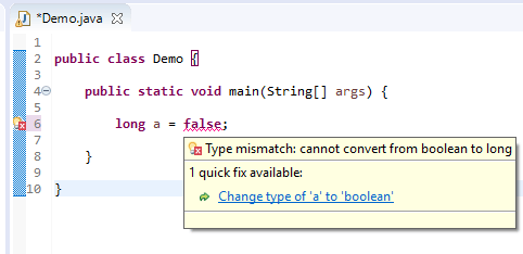 long assigned different - boolean to long error
