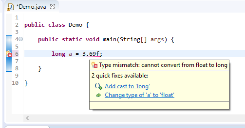 long assigned different - float to long error