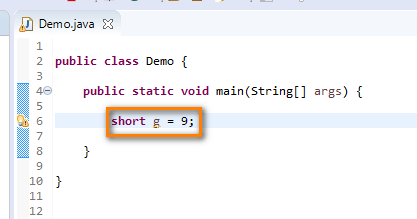 short data type Java - short